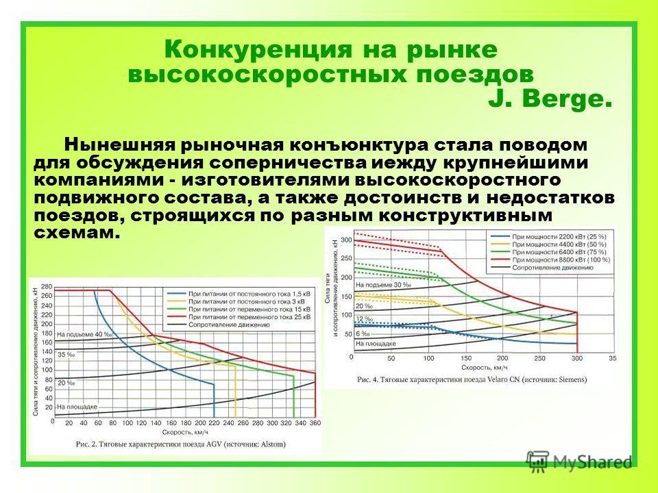 Конкуренция на рынке высокоскоростных поездов J. Berge. Нынешняя рыночная конъюнктура стала поводом для обсуждения соперничества иежду крупнейшими компаниями - изготовителями высокоскоростного подвижного состава, а также достоинств и недостатков поез