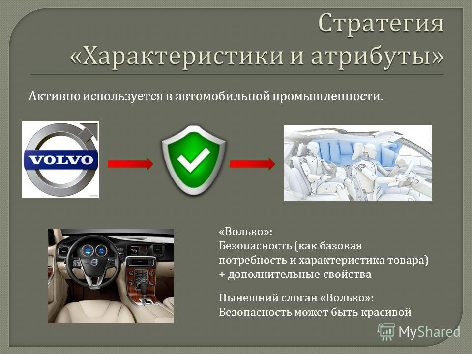Активно используется в автомобильной промышленности. « Вольво »: Безопасность ( как базовая потребность и характеристика товара ) + дополнительные свойства Нынешний слоган « Вольво »: Безопасность может быть красивой