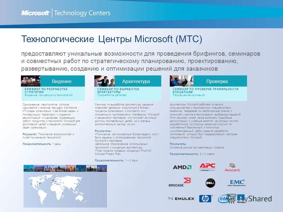 Технологические Центры Microsoft (MTC) предоставляют уникальные возможности для проведения брифингов, семинаров и совместных работ по стратегическому планированию, проектированию, развертыванию, созданию и оптимизации решений для заказчиков Однодневн