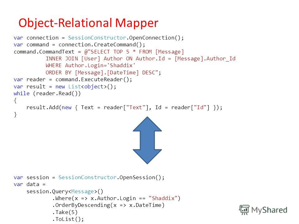 Object-Relational Mapper var connection = SessionConstructor.OpenConnection(); var command = connection.CreateCommand(); command.CommandText = @