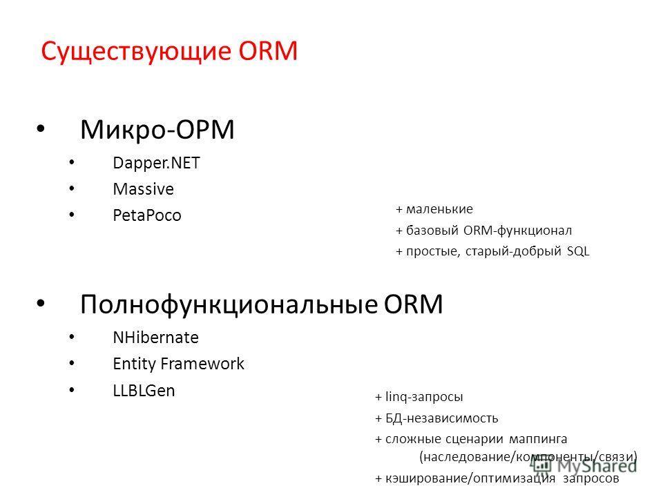 Существующие ORM Микро-ОРМ Dapper.NET Massive PetaPoco Полнофункциональные ORM NHibernate Entity Framework LLBLGen + маленькие + базовый ORM-функционал + простые, старый-добрый SQL + linq-запросы + БД-независимость + сложные сценарии маппинга (наслед