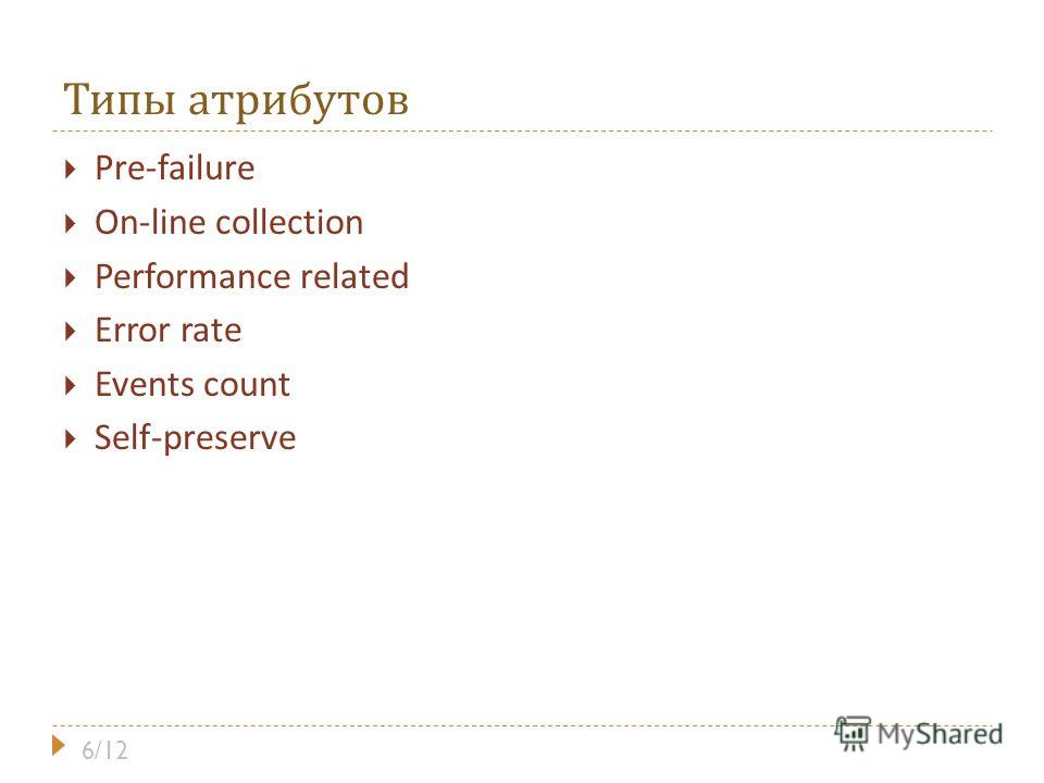 Типы атрибутов Pre-failure On-line collection Performance related Error rate Events count Self-preserve 6/12