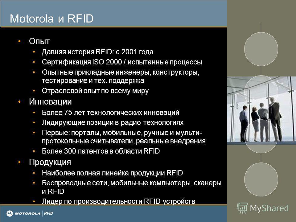 Motorola и RFID Опыт Давняя история RFID: с 2001 года Сертификация ISO 2000 / испытанные процессы Опытные прикладные инженеры, конструкторы, тестирование и тех. поддержка Отраслевой опыт по всему миру Инновации Более 75 лет технологических инноваций