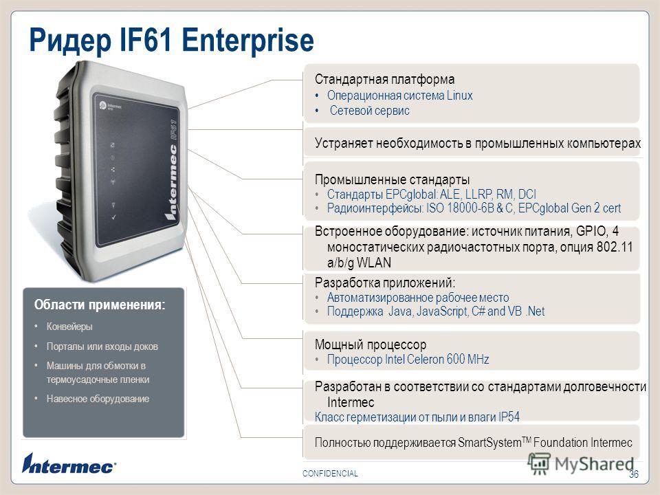 36 CONFIDENCIAL Ридер IF61 Enterprise Стандартная платформа Операционная система Linux Сетевой сервис Устраняет необходимость в промышленных компьютерах Промышленные стандарты Стандарты EPCglobal: ALE, LLRP, RM, DCI Радиоинтерфейсы: ISO 18000-6B & C,