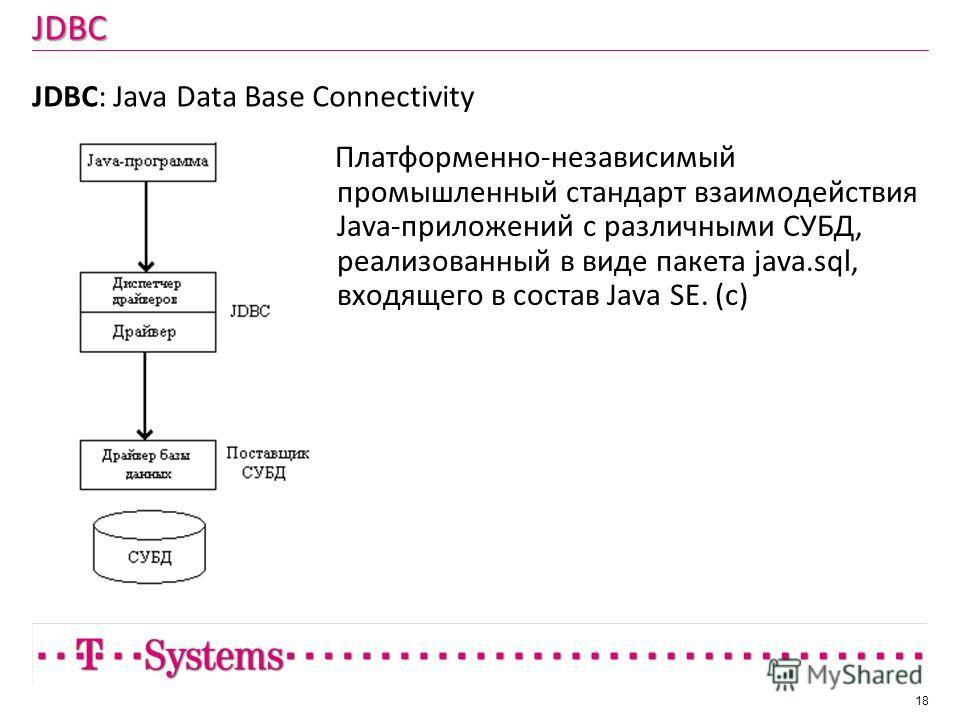 JDBC JDBC: Java Data Base Connectivity 18 Платформенно-независимый промышленный стандарт взаимодействия Java-приложений с различными СУБД, реализованный в виде пакета java.sql, входящего в состав Java SE. (c)