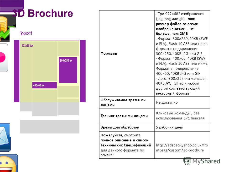 3D Brochure http://adspecs.yahoo.co.uk/frontpage/custom/3d-brochure Показ множественных блоков в одном рекламном слоте, в увлекательной форме 3D-куба. Этот запатентованный мультимедийный формат доступен на всех устройствах, включая планшетники и смар
