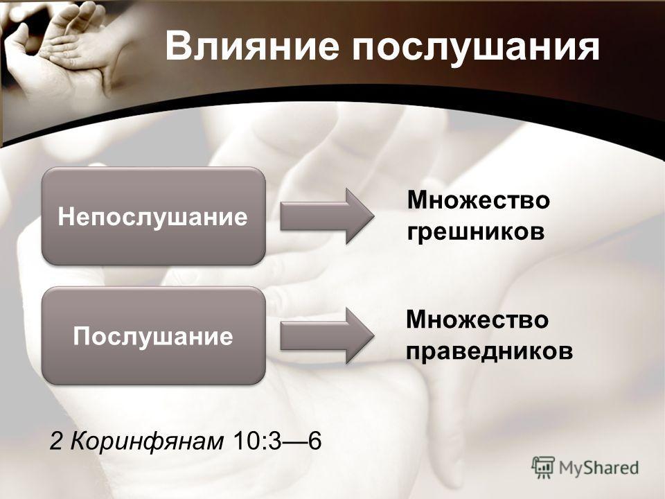 Влияние послушания Непослушание Послушание Множество грешников Множество праведников 2 Коринфянам 10:36