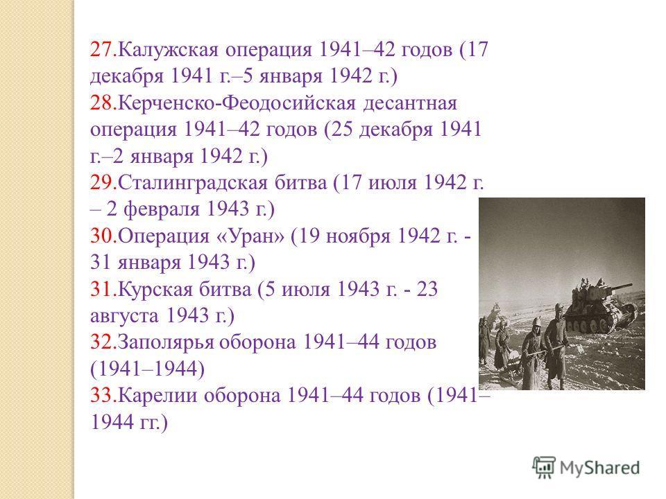 27.Калужская операция 1941–42 годов (17 декабря 1941 г.–5 января 1942 г.) 28.Керченско-Феодосийская десантная операция 1941–42 годов (25 декабря 1941 г.–2 января 1942 г.) 29.Сталинградская битва (17 июля 1942 г. – 2 февраля 1943 г.) 30.Операция «Уран