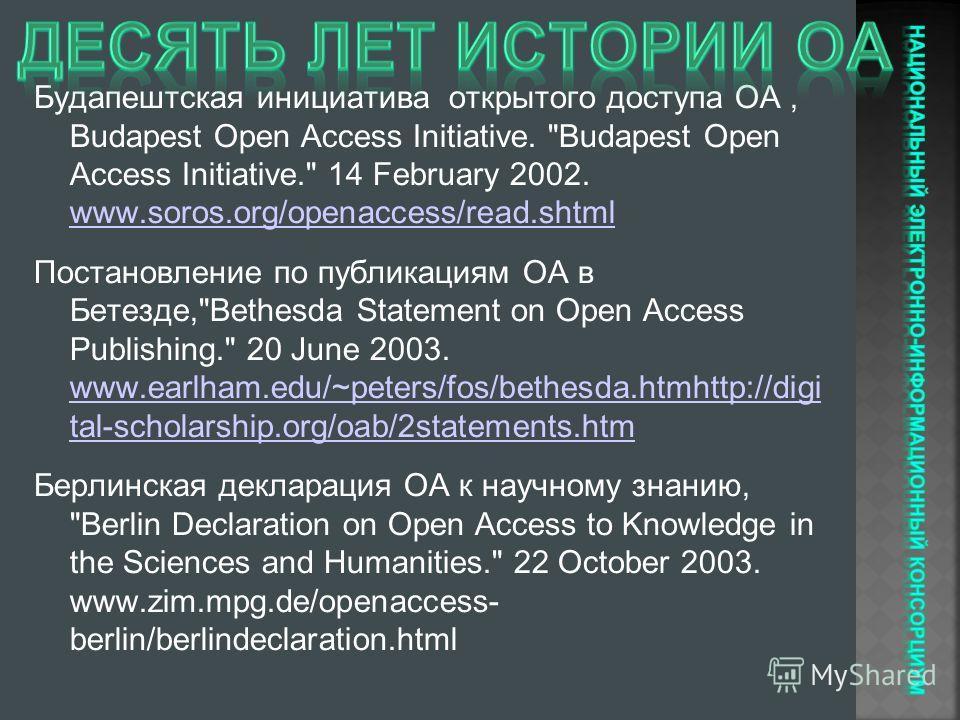 Будапештская инициатива открытого доступа ОА, Budapest Open Access Initiative.