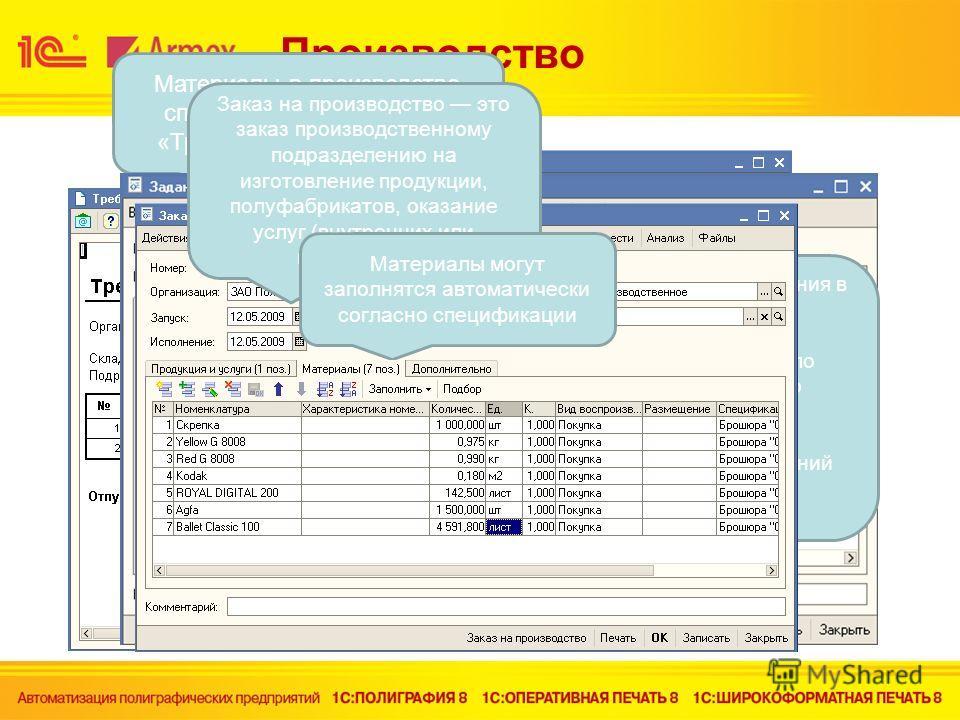 Производство Материалы в производство списываются документом «Требование - накладные» Есть возможность распечатки печатной формы Документ предназначен для отражения в управленческом учете следующих операций: Ввод в систему и хранение данных по структ