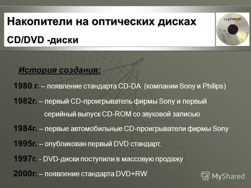 1980 г. – появление стандарта CD-DA (компании Sony и Philips) 1982г. – первый CD-проигрыватель фирмы Sony и первый серийный выпуск CD-ROM со звуковой записью 1984г. – первые автомобильные CD-проигрыватели фирмы Sony 1995г. – опубликован первый DVD ст