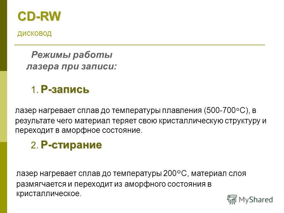 CD-RW дисковод Режимы работы лазера при записи: Р-запись 1. Р-запись лазер нагревает сплав до температуры плавления (500-700 С), в результате чего материал теряет свою кристаллическую структуру и переходит в аморфное состояние. Р-стирание 2. Р-стиран