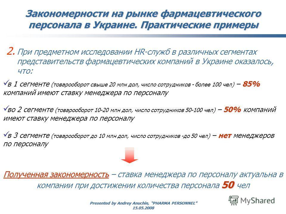 Presented by Andrey Anuchin, PHARMA PERSONNEL 15.05.2008 Закономерности на рынке фармацевтического персонала в Украине. Практические примеры 2. При предметном исследовании HR-служб в различных сегментах представительств фармацевтических компаний в Ук