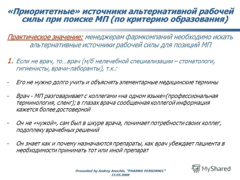 Presented by Andrey Anuchin, PHARMA PERSONNEL 15.05.2008 Практическое значение: Практическое значение: менеджерам фармкомпаний необходимо искать альтернативные источники рабочей силы для позиций МП «Приоритетные» источники альтернативной рабочей силы