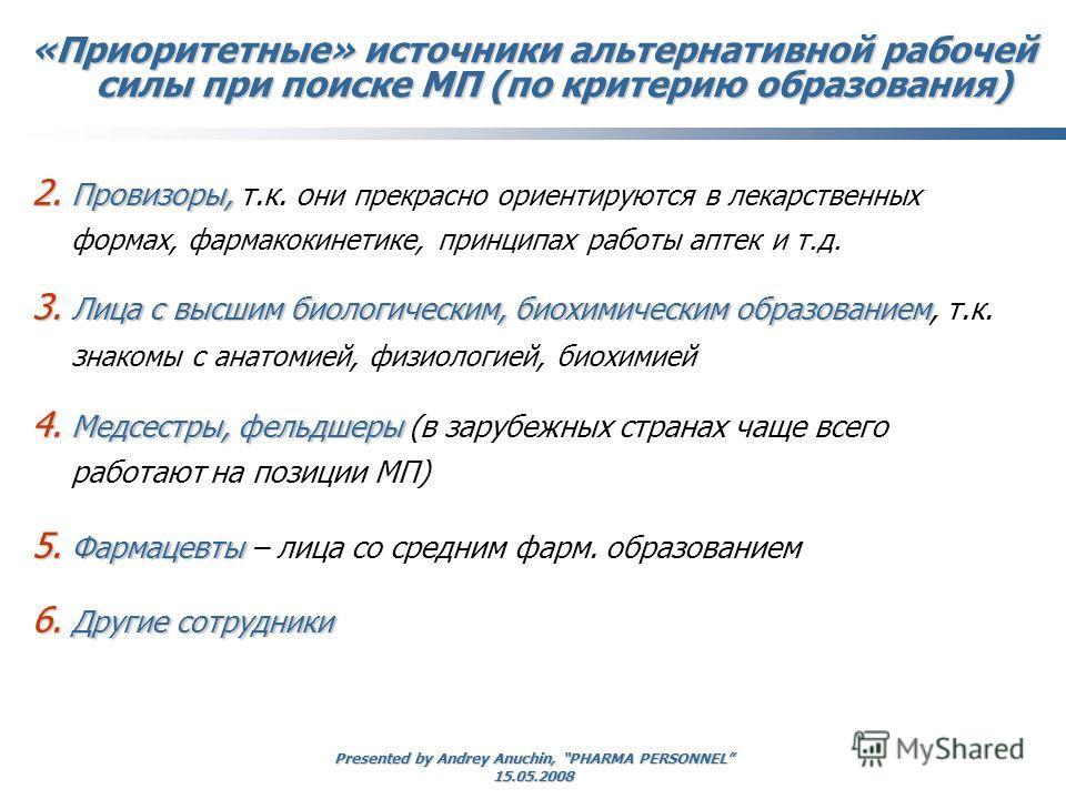 Presented by Andrey Anuchin, PHARMA PERSONNEL 15.05.2008 2. Провизоры, 2. Провизоры, т.к. о ни прекрасно ориентируются в лекарственных формах, фармакокинетике, принципах работы аптек и т.д. 3. Лица с высшим биологическим, биохимическим образованием 3