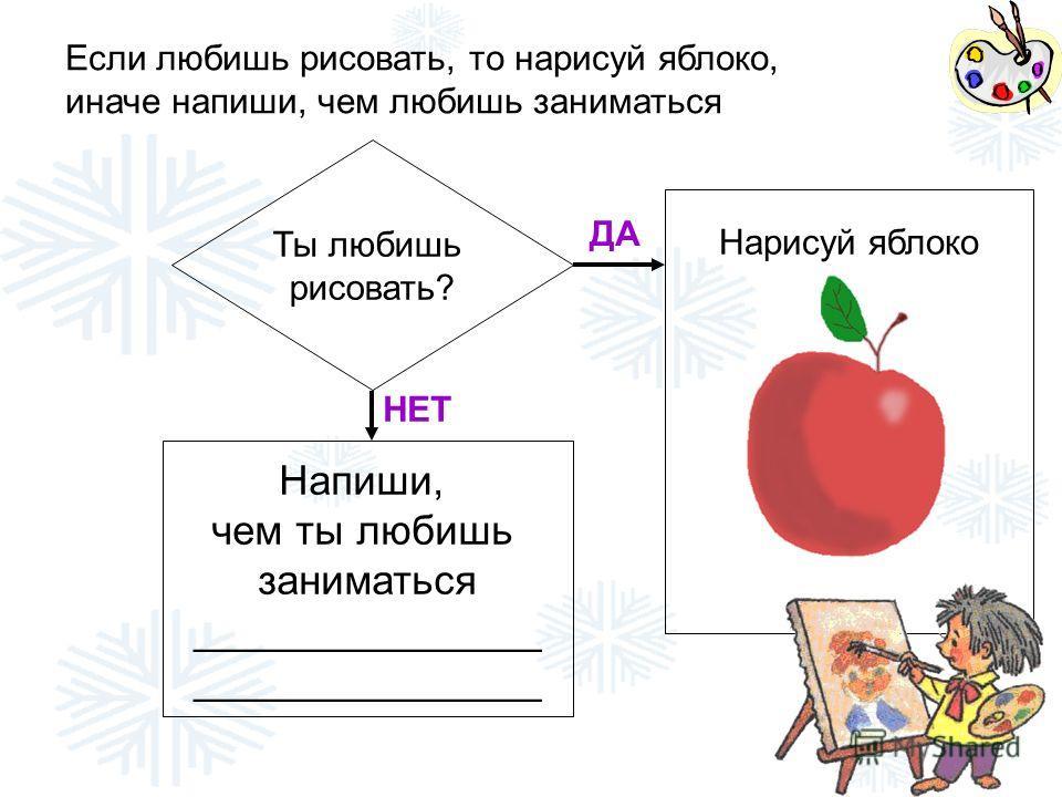 Ты любишь рисовать? ДА НЕТ Напиши, чем ты любишь заниматься _______________ Нарисуй яблоко Если любишь рисовать, то нарисуй яблоко, иначе напиши, чем любишь заниматься