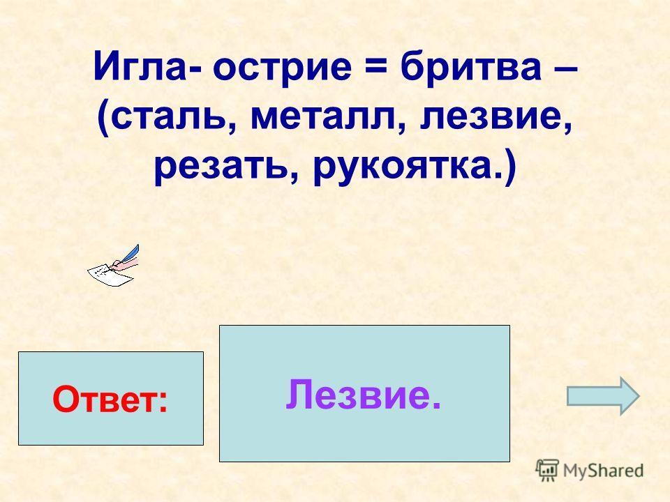 Игла- острие = бритва – (сталь, металл, лезвие, резать, рукоятка.) Ответ: Лезвие.