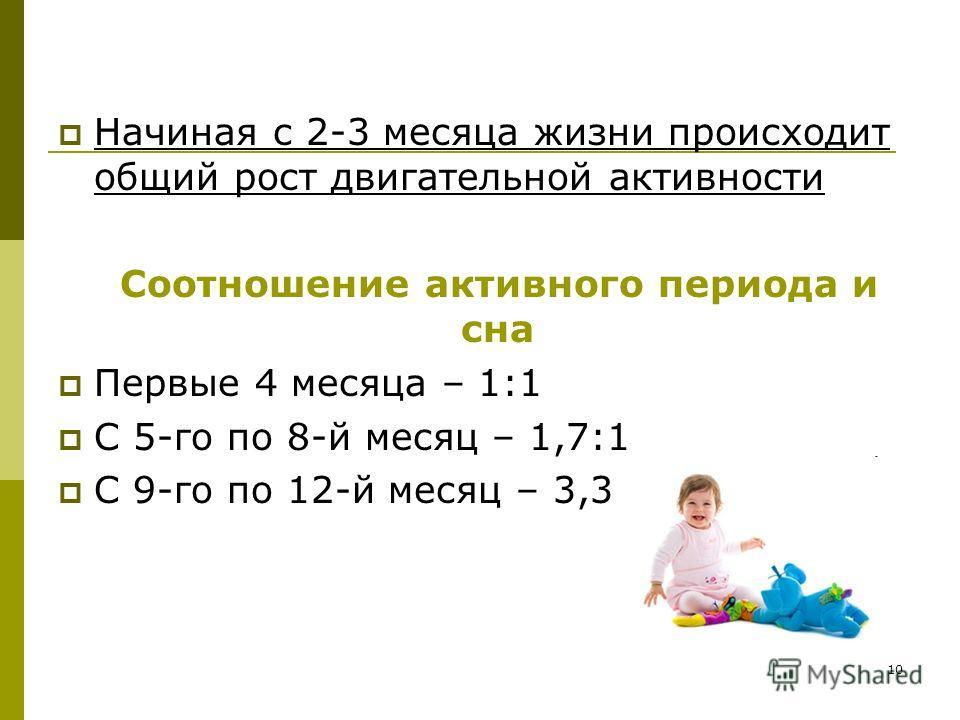 10 Начиная с 2-3 месяца жизни происходит общий рост двигательной активности Соотношение активного периода и сна Первые 4 месяца – 1:1 С 5-го по 8-й месяц – 1,7:1 С 9-го по 12-й месяц – 3,3:1