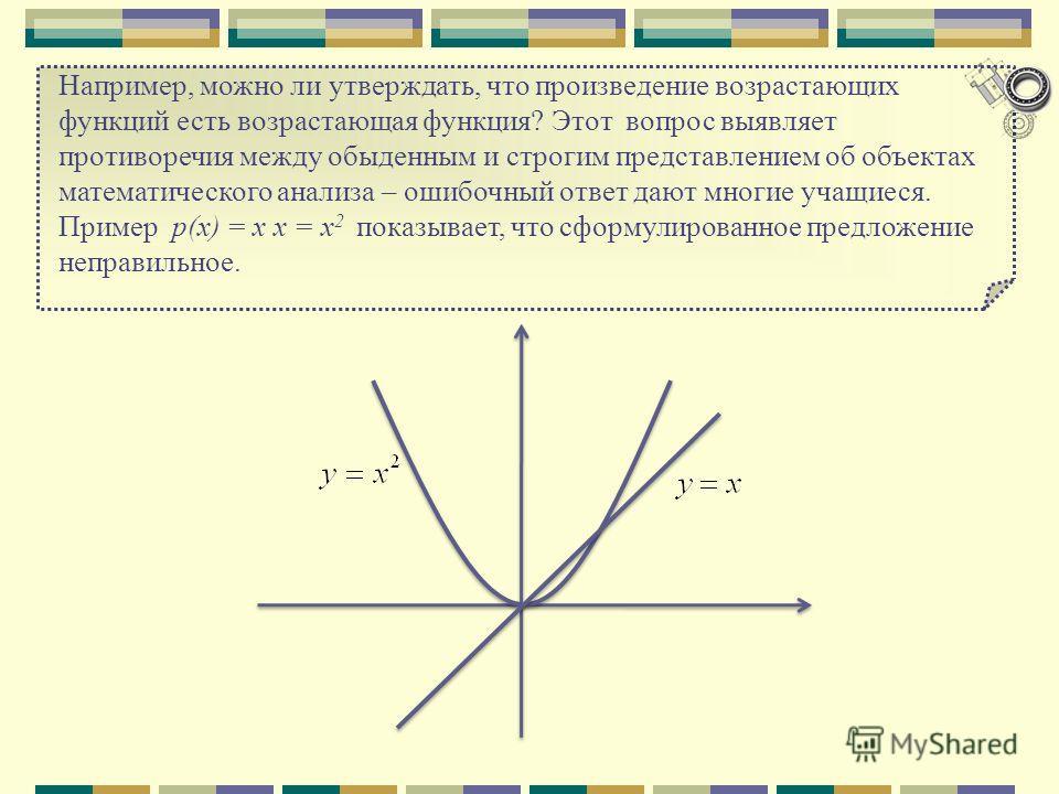 Например, можно ли утверждать, что произведение возрастающих функций есть возрастающая функция? Этот вопрос выявляет противоречия между обыденным и строгим представлением об объектах математического анализа – ошибочный ответ дают многие учащиеся. При