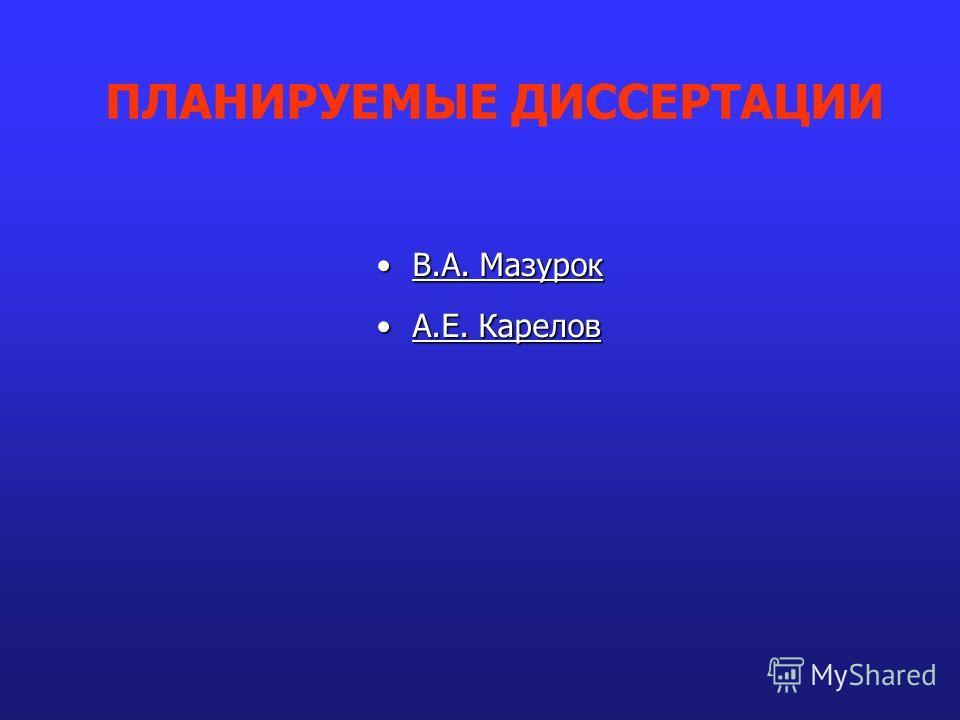 В.А. МазурокВ.А. Мазурок А.Е. КареловА.Е. Карелов ПЛАНИРУЕМЫЕ ДИССЕРТАЦИИ