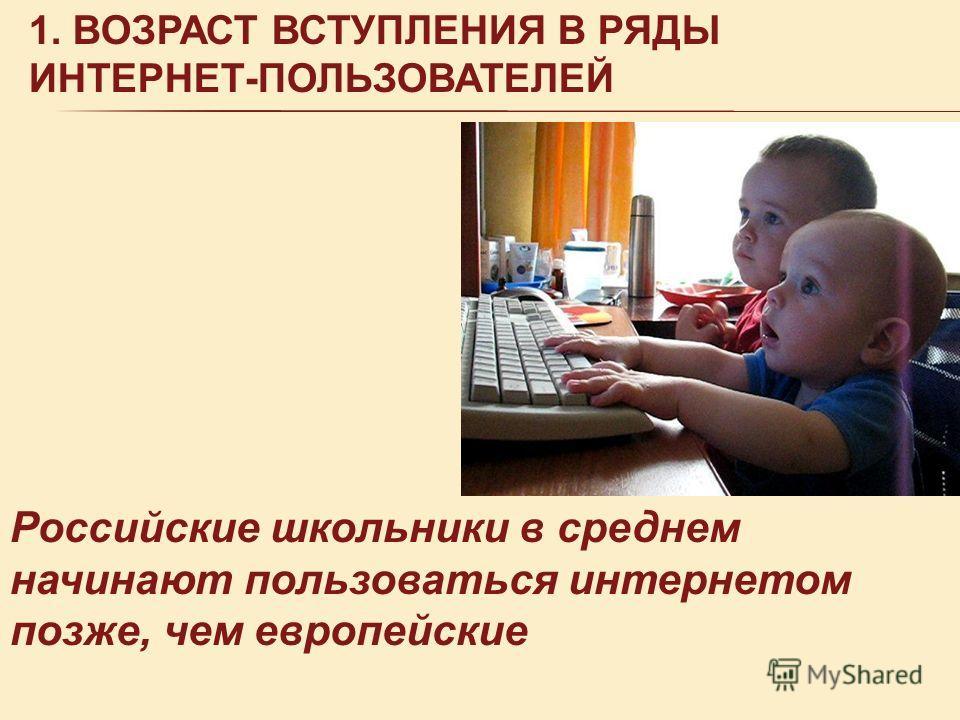1. ВОЗРАСТ ВСТУПЛЕНИЯ В РЯДЫ ИНТЕРНЕТ-ПОЛЬЗОВАТЕЛЕЙ Российские школьники в среднем начинают пользоваться интернетом позже, чем европейские