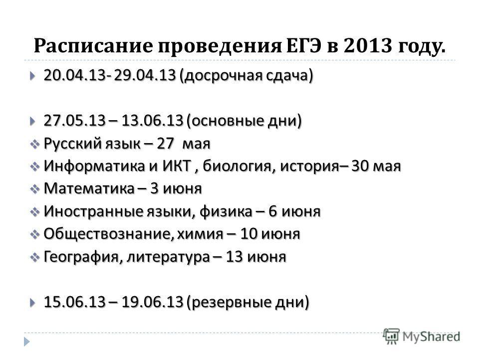 Расписание проведения ЕГЭ в 2013 году. 20.04.13- 29.04.13 ( досрочная сдача ) 20.04.13- 29.04.13 ( досрочная сдача ) 27.05.13 – 13.06.13 ( основные дни ) 27.05.13 – 13.06.13 ( основные дни ) Русский язык – 27 мая Русский язык – 27 мая Информатика и И