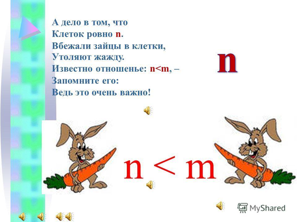 Существенно одно: Их было ровно m. Устали зайцы, жажда одолела. Увидели морковь – Решенье всех проблем, Хоть в клетках та морковь, - Совсем не в этом дело.