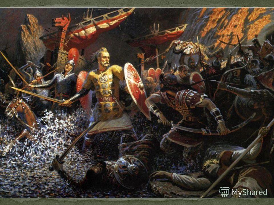 А так последняя трагическая битва изображена Борисом Ольшанским. Святослав обнажил свой меч, дабы нанести решающий удар. Но не суждено храбрым ратичам вернуться на Родину. Печенежские князья и столетием позже поднимали окованный золотом кубок, сделан