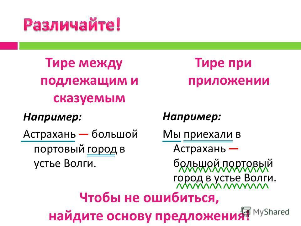 Тире при приложении Например : Мы приехали в Астрахань большой портовый город в устье Волги. Тире между подлежащим и сказуемым Например : Астрахань большой портовый город в устье Волги. Чтобы не ошибиться, найдите основу предложения !