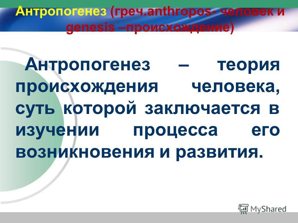 Антропогенез (греч.anthropos- человек и genesis –происхождение) Антропогенез – теория происхождения человека, суть которой заключается в изучении процесса его возникновения и развития.