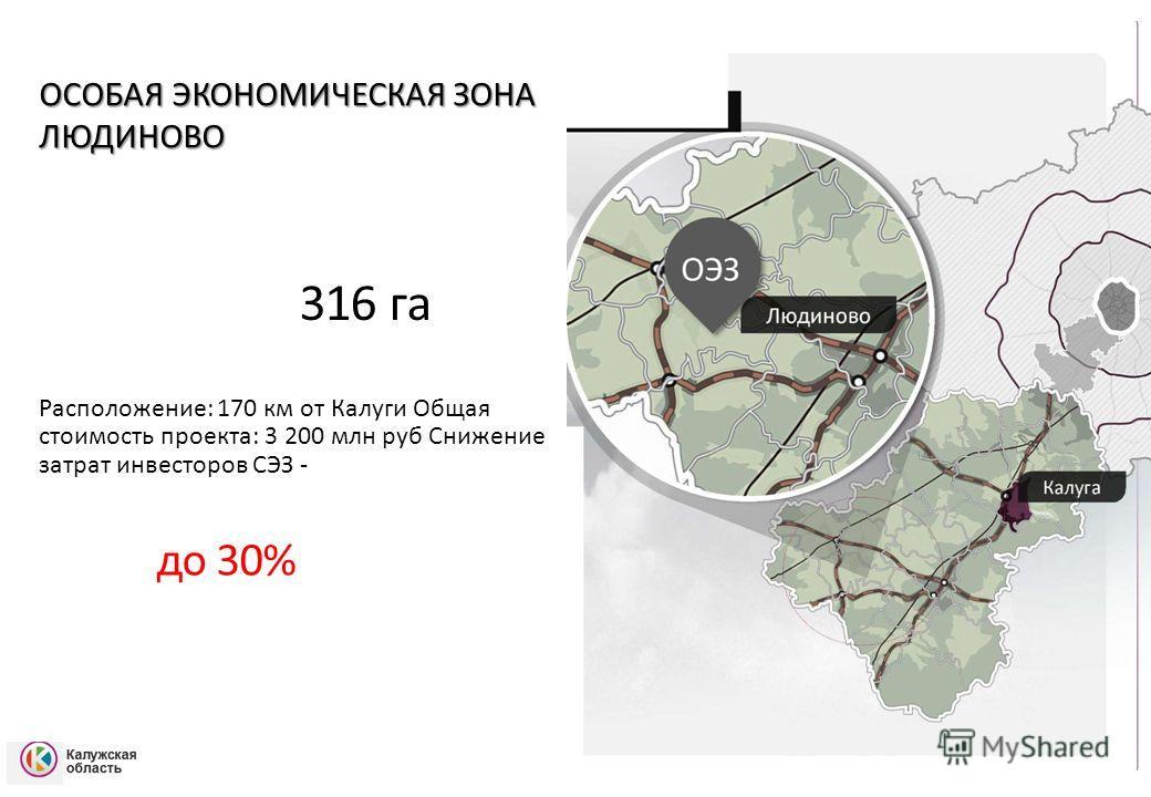 ОСОБАЯ ЭКОНОМИЧЕСКАЯ ЗОНА ЛЮДИНОВО 316 га га Расположение: 170 км от Калуги Общая стоимость проекта: 3 200 млн руб Снижение затрат инвесторов СЭЗ - до 30%