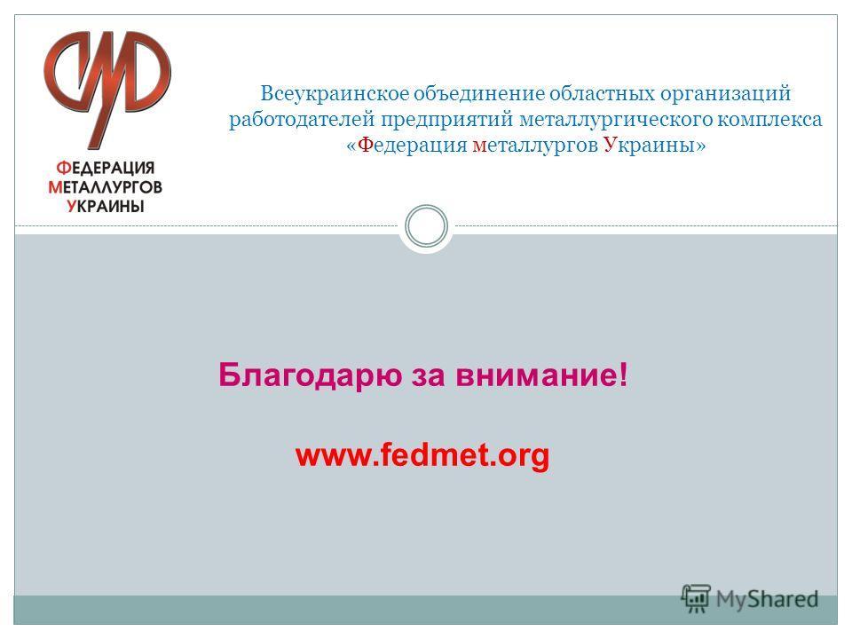 Благодарю за внимание! www.fedmet.org Всеукраинское объединение областных организаций работодателей предприятий металлургического комплекса «Федерация металлургов Украины»