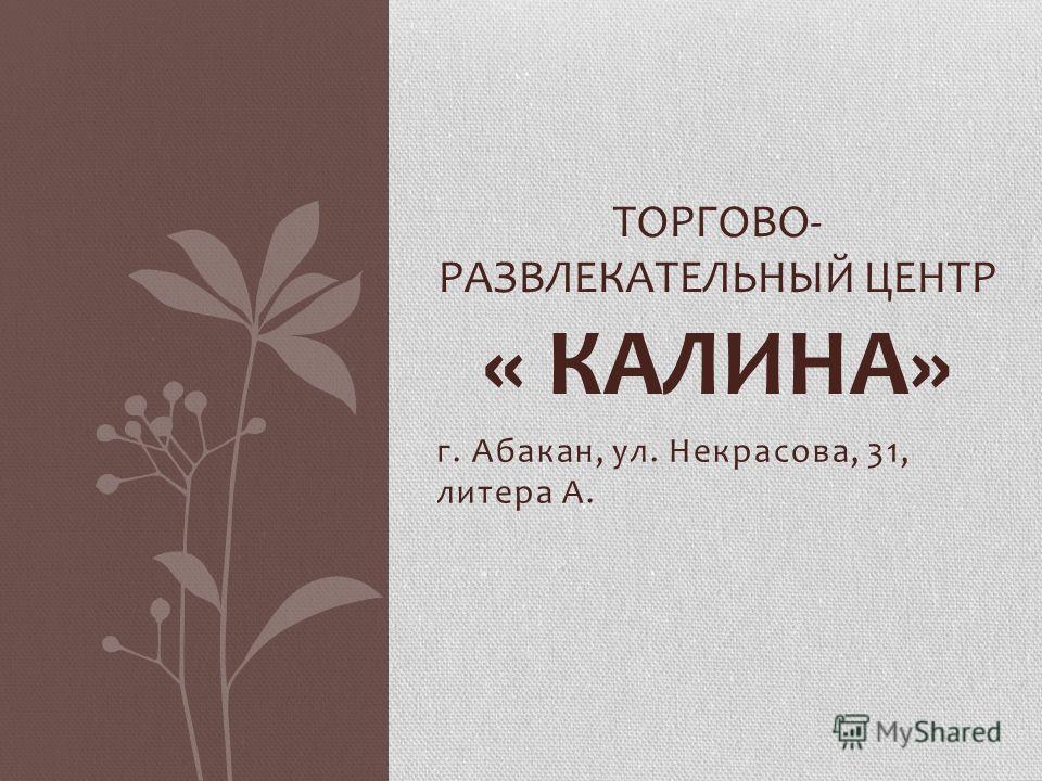 г. Абакан, ул. Некрасова, 31, литера А. ТОРГОВО- РАЗВЛЕКАТЕЛЬНЫЙ ЦЕНТР « КАЛИНА»