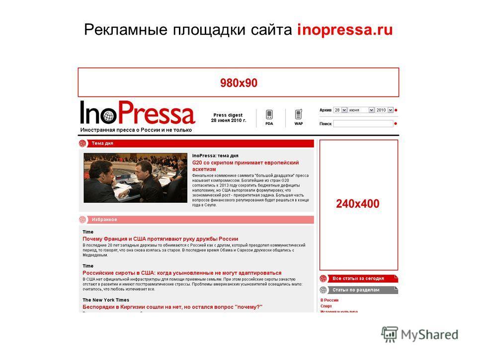 Рекламные площадки сайта inopressa.ru