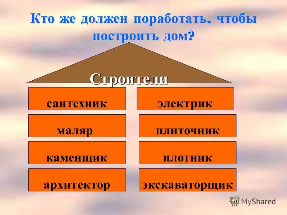Кто же должен поработать, чтобы построить дом ? архитектор маляр экскаваторщик каменщикплотник сантехникэлектрик плиточник Строители