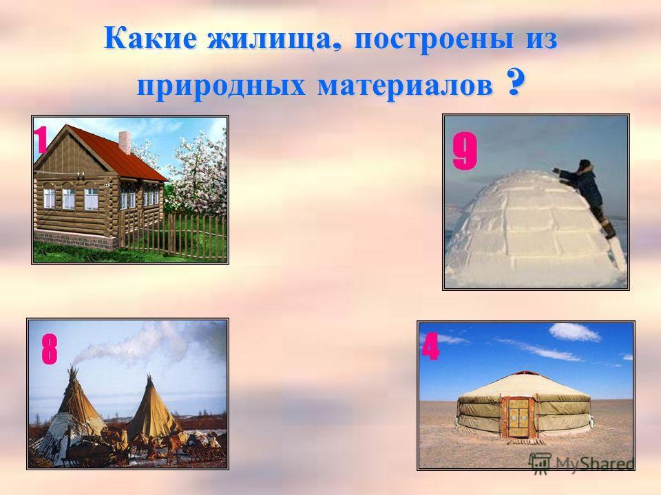 Какие жилища, построены из природных материалов ?
