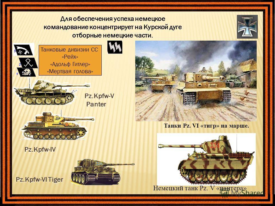 Для обеспечения успеха немецкое командование концентрирует на Курской дуге отборные немецкие части. Pz.Kpfw-V Panter Panter Танковые дивизии СС «Рейх» «Адольф Гитлер» «Мертвая голова» Pz.Kpfw-IV Pz.Kpfw-VI Tiger Немецкий танк Pz. V «пантера» Танки Pz