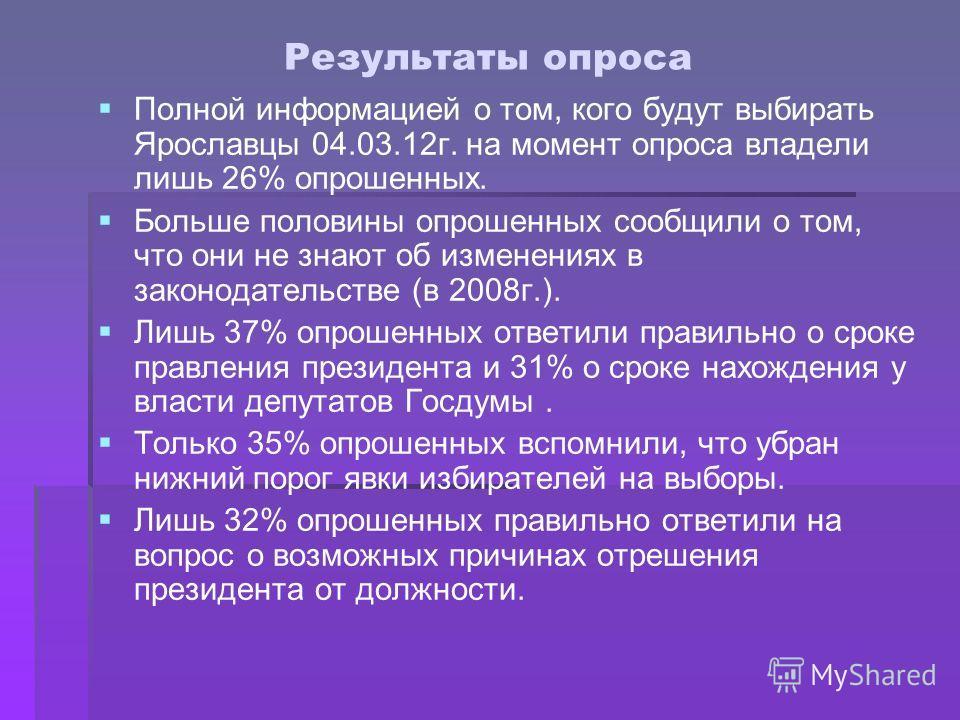 Результаты опроса Полной информацией о том, кого будут выбирать Ярославцы 04.03.12г. на момент опроса владели лишь 26% опрошенных. Больше половины опрошенных сообщили о том, что они не знают об изменениях в законодательстве (в 2008г.). Лишь 37% опрош