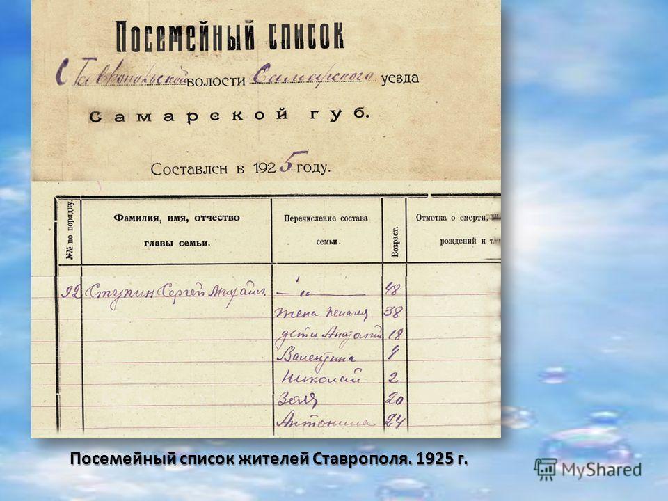 Посемейный список жителей Ставрополя. 1925 г.