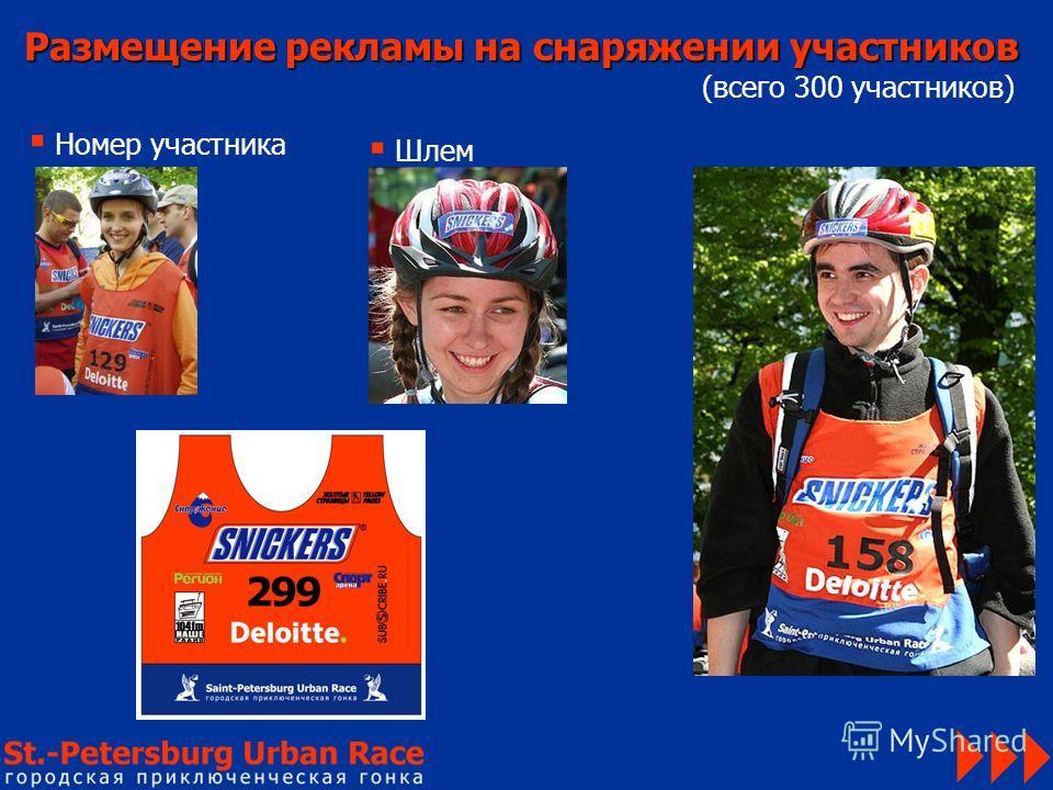Размещение рекламы на снаряжении участников (всего 300 участников) Номер участника Шлем