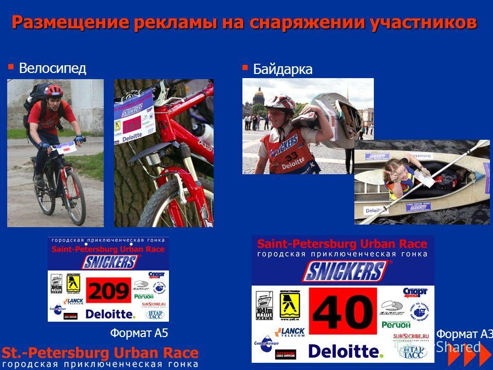 Размещение рекламы на снаряжении участников Велосипед Байдарка Формат А5 Формат А3