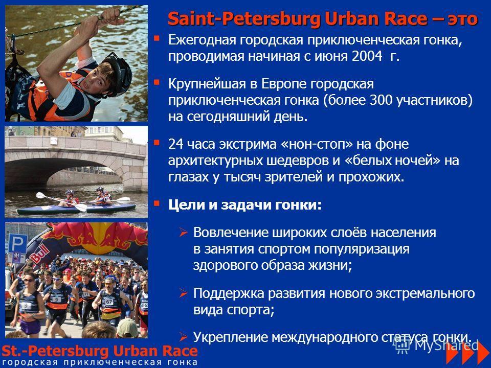 Ежегодная городская приключенческая гонка, проводимая начиная с июня 2004 г. Крупнейшая в Европе городская приключенческая гонка (более 300 участников) на сегодняшний день. 24 часа экстрима «нон-стоп» на фоне архитектурных шедевров и «белых ночей» на