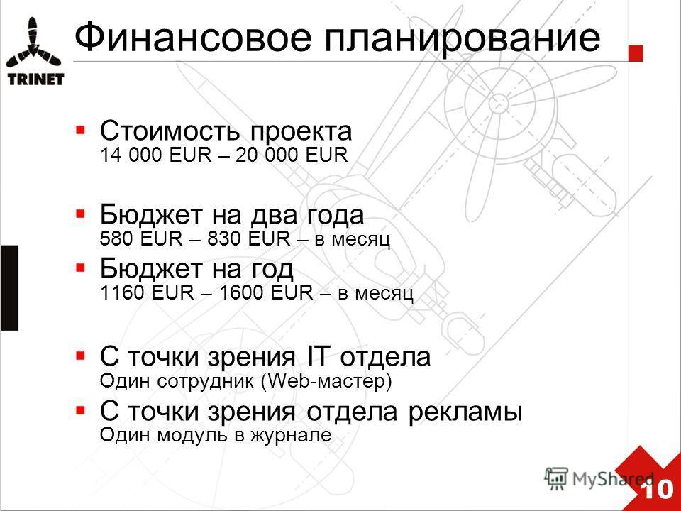 Финансовое планирование Стоимость проекта 14 000 EUR – 20 000 EUR Бюджет на два года 580 EUR – 830 EUR – в месяц Бюджет на год 1160 EUR – 1600 EUR – в месяц С точки зрения IT отдела Один сотрудник (Web-мастер) С точки зрения отдела рекламы Один модул
