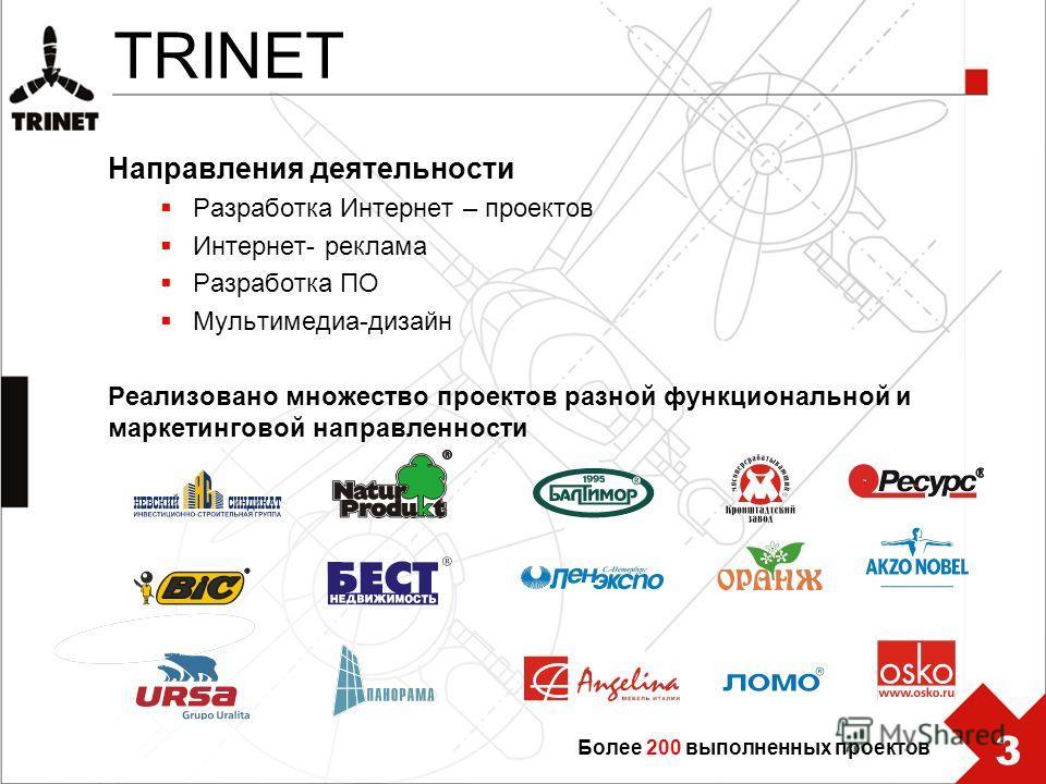 TRINET Направления деятельности Разработка Интернет – проектов Интернет- реклама Разработка ПО Мультимедиа-дизайн Реализовано множество проектов разной функциональной и маркетинговой направленности Более 200 выполненных проектов 3