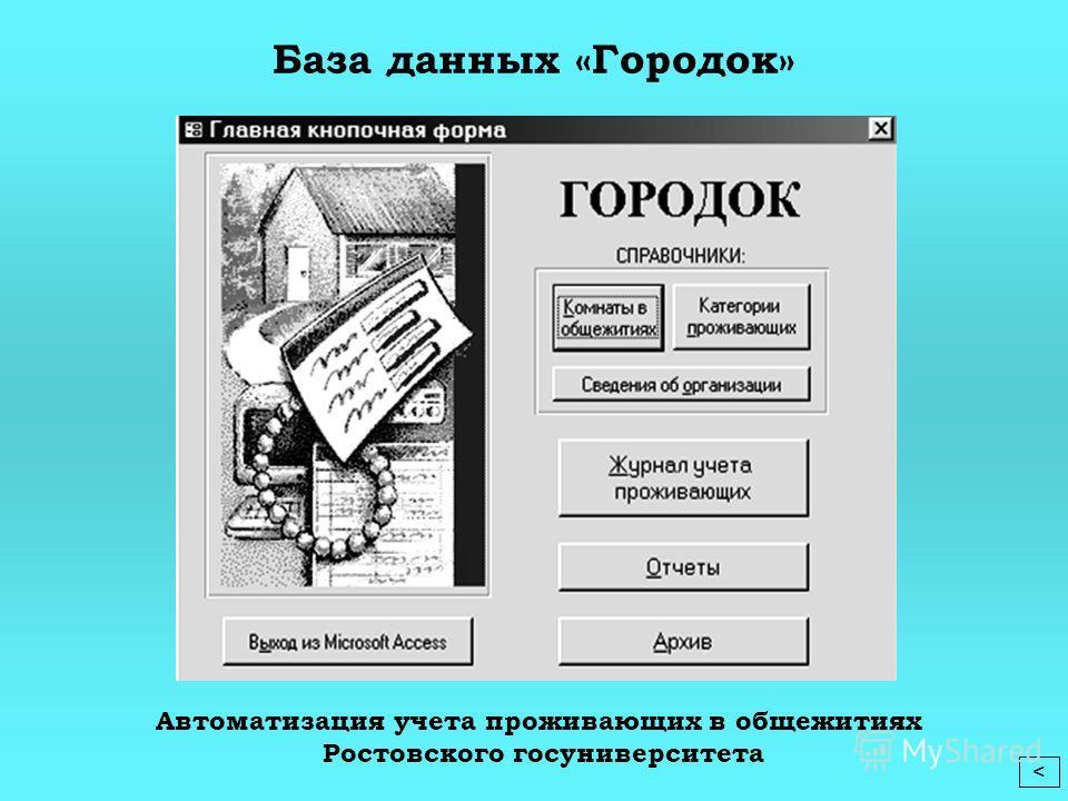 Автоматизация учета проживающих в общежитиях Ростовского госуниверситета База данных «Городок»