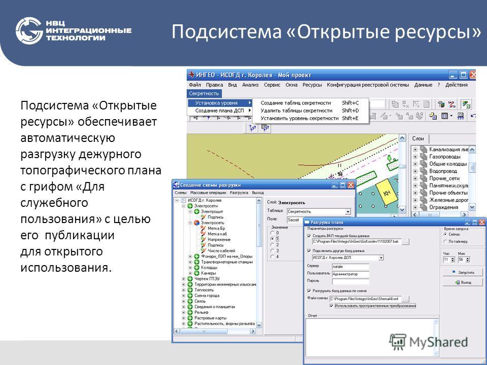 Подсистема «Открытые ресурсы» обеспечивает автоматическую разгрузку дежурного топографического плана с грифом «Для служебного пользования» с целью его публикации для открытого использования. Подсистема «Открытые ресурсы»