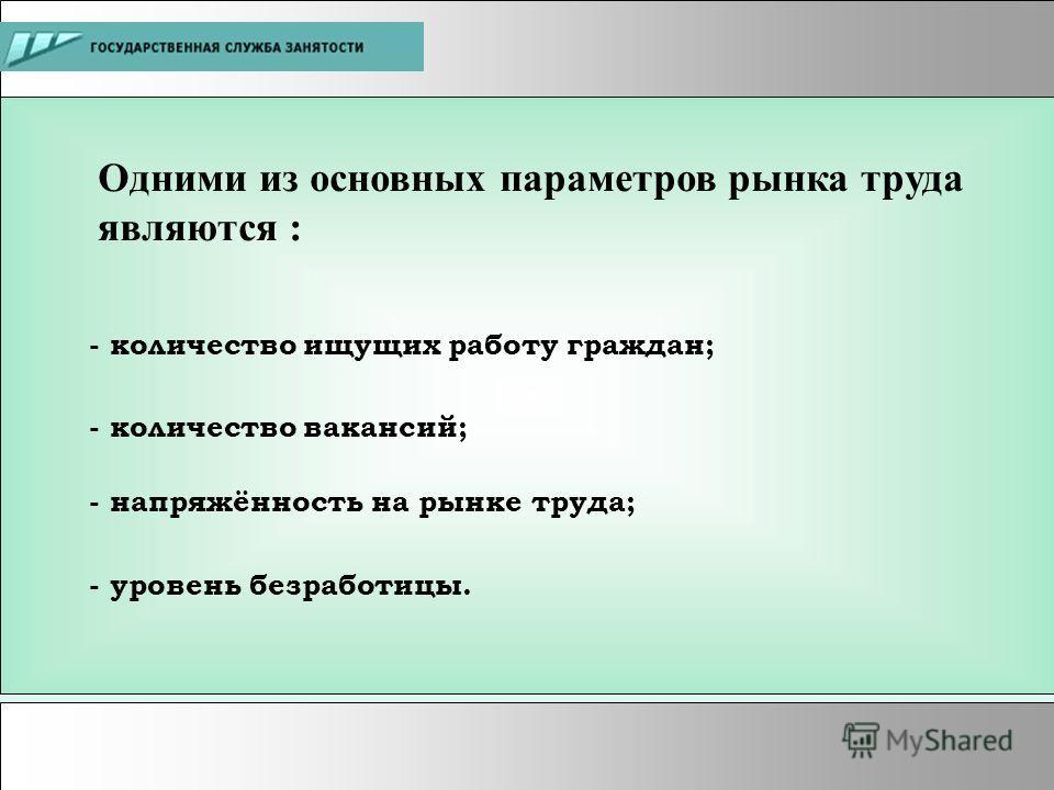 Одними из основных параметров рынка труда являются : - количество ищущих работу граждан; - количество вакансий; - уровень безработицы. - напряжённость на рынке труда;