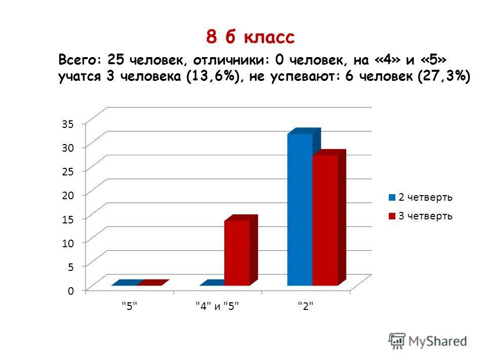 8 б класс Всего: 25 человек, отличники: 0 человек, на «4» и «5» учатся 3 человека (13,6%), не успевают: 6 человек (27,3%)