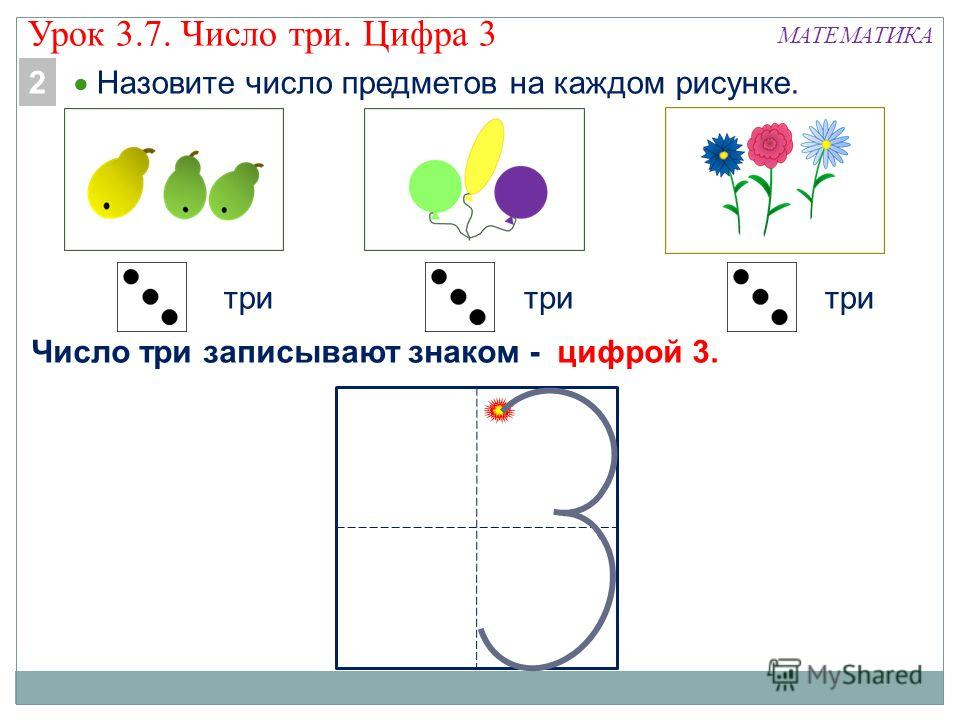 МАТЕМАТИКА Назовите число предметов на каждом рисунке. три Число три записывают знаком - цифрой 3. 2 Урок 3.7. Число три. Цифра 3