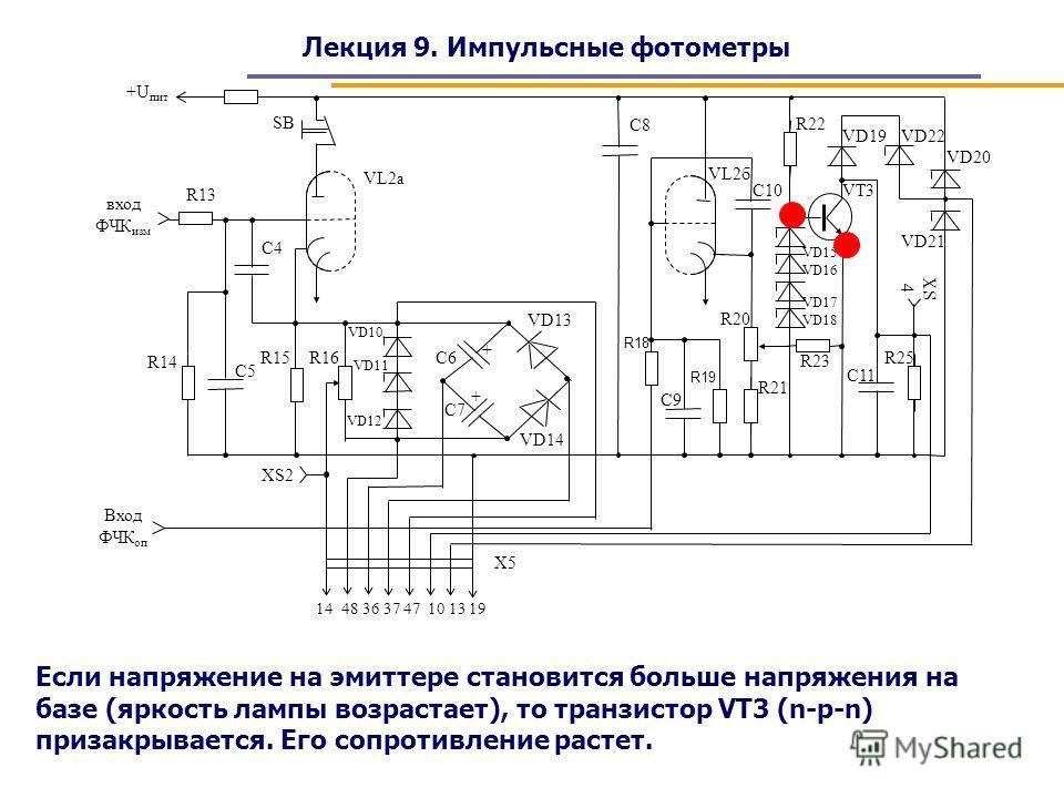 Лекция 9. Импульсные фотометры Если напряжение на эмиттере становится больше напряжения на базе (яркость лампы возрастает), то транзистор VT3 (n-p-n) призакрывается. Его сопротивление растет.